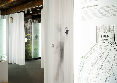 Death exhibition graphics text and illustration